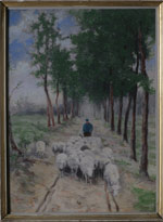 Anton Mauve (1838-1888) Shepherd and Sheep  (n/d) Watercolor and gouache on paper