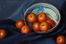 Pamela Pindell Oranges and Mexican Bowl Oil on canvas 1998
