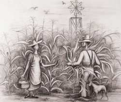 Doris Lee  Cornfield (Preparatory drawing for mural Georgia Countryside, Summerville, Georgia, 1939)  1938  Pencil on Paper  15 ¼ x 18 ½ inches  Courtesy D. Wigmore Fine Art, Inc. and the Estate of Doris Lee