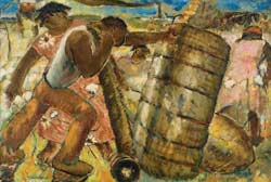 Charles Ward  Story of Cotton (Mural Study for Roanoke Rapids, North Carolina Post Office)  1937  Oil on Canvas  16 ½ x 24 ½ inches  Courtesy D. Wigmore Fine Art, Inc. and the Estate of Charles Ward