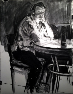 Preliminary Drawing-Young man at back table